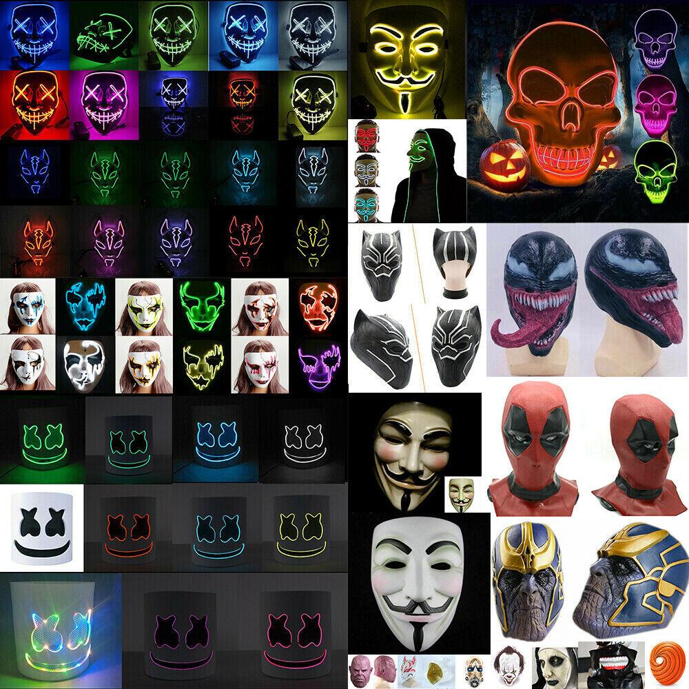 Rave Party LED Light Up Stitches Scary LED Mask For Costume