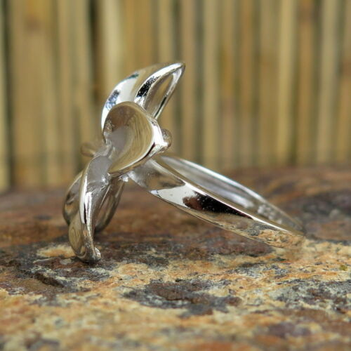 Hawaiian Jewelry Silver Gold Plumeria Flower CZ Wedding Ring Band 22mm SR3265