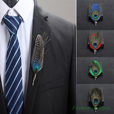 - Men's Peacock Feather Brooches Pin  Handmade Bouquet Lapel Pin Corsage Brooches