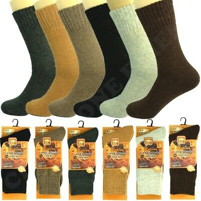 3 Pairs Mens Merino Lambs Wool Boots Thermal Crew Socks Winter Warm Size 10-13