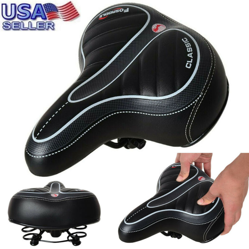 Extra Wide Big Soft Bike Saddle Comfort Sporty Bicycle Pad Spring Seat Cushion