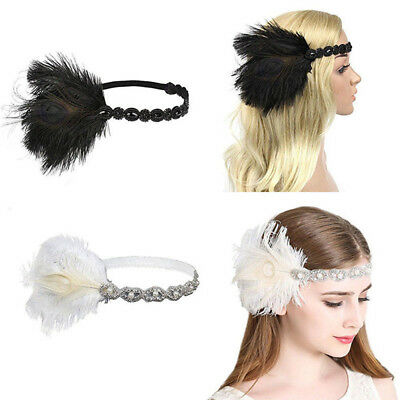 Hot 1920s Headband Feather 20's Bridal Great Gatsby Flapper Gangster - 1920s Gangsters