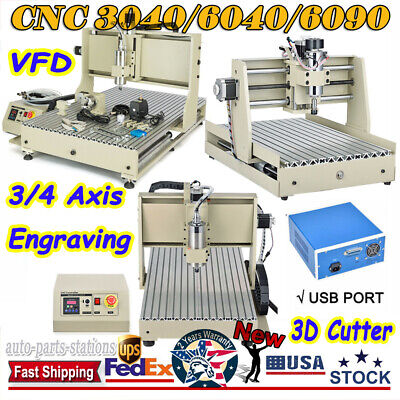 Usb Cnc 34 Axis 3040 6040 6090 Router Engraving Milling Machine 3d Cutter Usa
