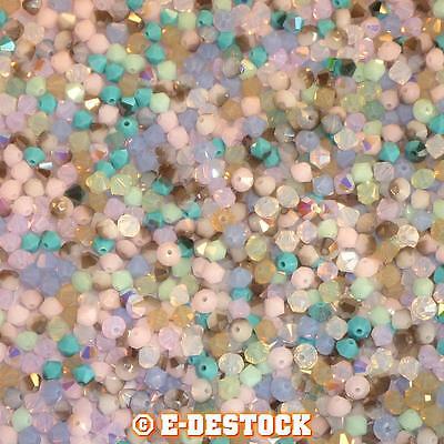 lot de 50 Perles Toupies 4mm Cristal Swarovski - MIX MULTICOLORE PASTELS