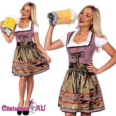 Ladies Beer Maid Wench Costume Oktoberfest Gretchen German Fancy Dress Halloween - Halloween Beer Wench Costume