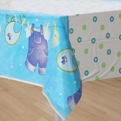 Blue Clothesline Boys Baby Shower Plastic Table Cover Party Supplies NEW (Baby Shower Clothesline)