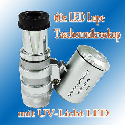 60x Lupe LED UV Mini Mikroskop Taschenmikroskop Juwelierlupe Taschenlupe Schmuck