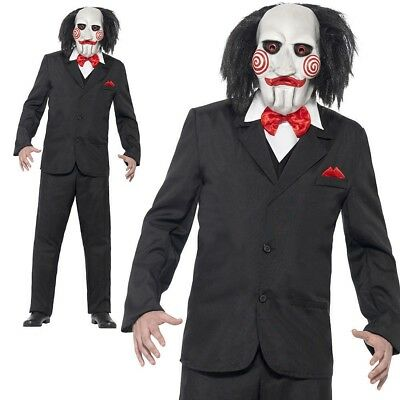 Mens Jigsaw Costume Officially Licensed Saw Puppet Outfit Halloween + Mask (Saw Halloween Outfits)