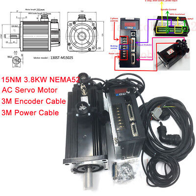 15nm 3.8kw Ac Servo Motor With Brake 380v Drive 2500rmin Nema52 3-phase Kits
