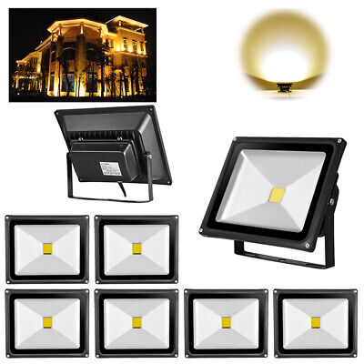 8Pcs 30W LED Floodlight Outdoor Garden Security Light Warm White Waterproof IP65
