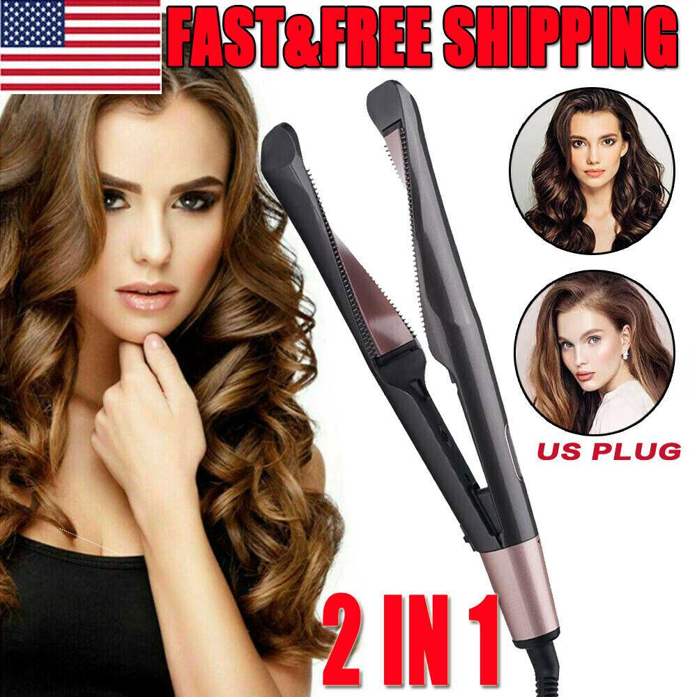 2 In1 Curling Iron Hair Straightener Salon Curler PRO Curlin