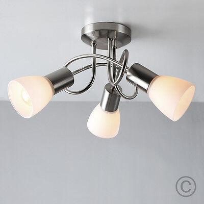 Modern Brushed Chrome 3 Way Flush Spiral Ceiling Spot Light Fitting Spotlight