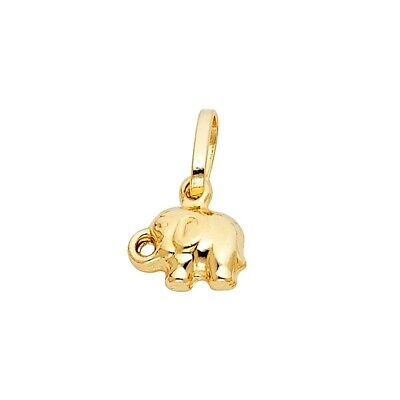 8mmX10mm 0.7grams Yellow Gold 14K Real Solid Elephant Charm Pendant