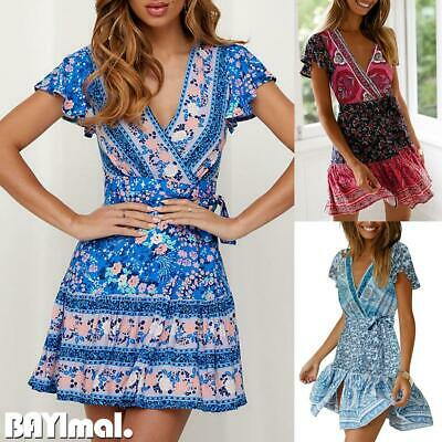 Women Boho Print Wrap Summer Boho Floral Mini Dress Ladies Holiday Beach Dresses