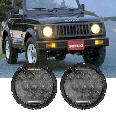 2PCS 7inch LED Headlights Hi/Lo Beam DRL Headlamps Fit For Suzuki Samurai SJ410