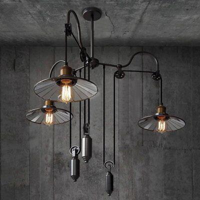 Loft Vintage Pulley Reflector Ceiling Light Pendant Chandelier Hanging - Pendant Reflector