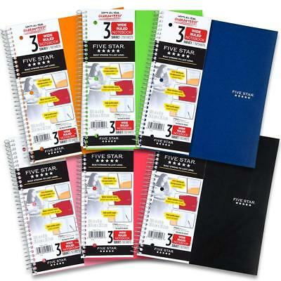 Mead Five Star Notebooks - Mead Five Star Spiral Notebook, 3 Subject, Wide Ruled Paper, 150 Sheets, 10-1/2