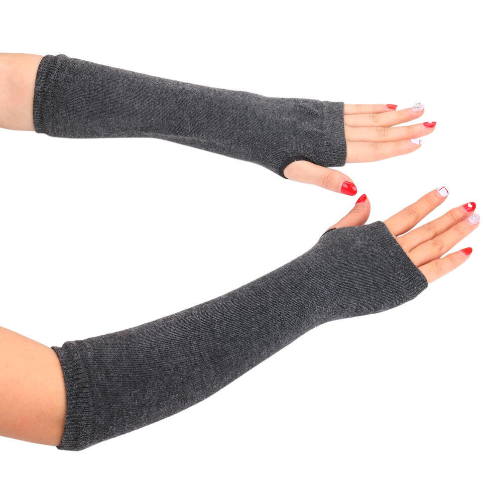 2Pair Women Warmer Mitten Long Knitted Wrist Arm Hand warmer Fingerless Gloves A