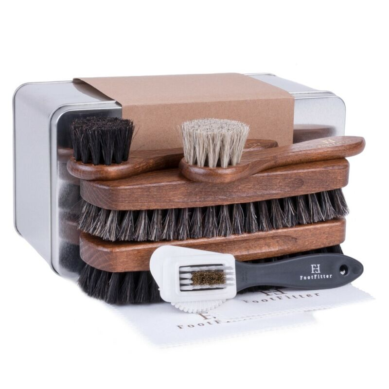 FootFitter Classic Shoe Shine Brush Set for Leather, Suede, & Nubuck