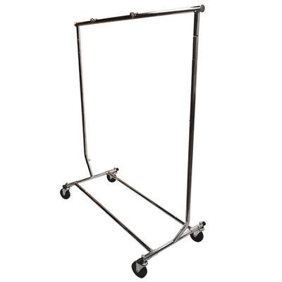 Adjustable Single Bar Clothing Rack Clothes Garment Hanger Display W Wheels