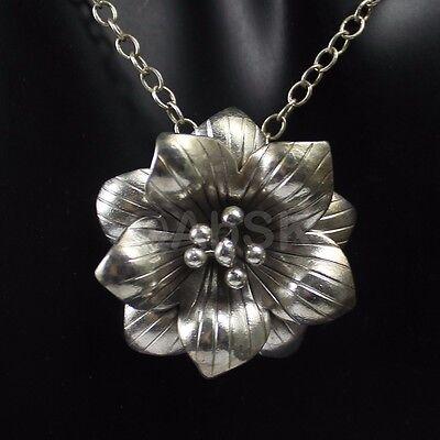 Tribe Silver 30mm - Thai KAREN HILL Tribe 98% SILVER Handmade 30mm Blossom Flower PENDANT HS7