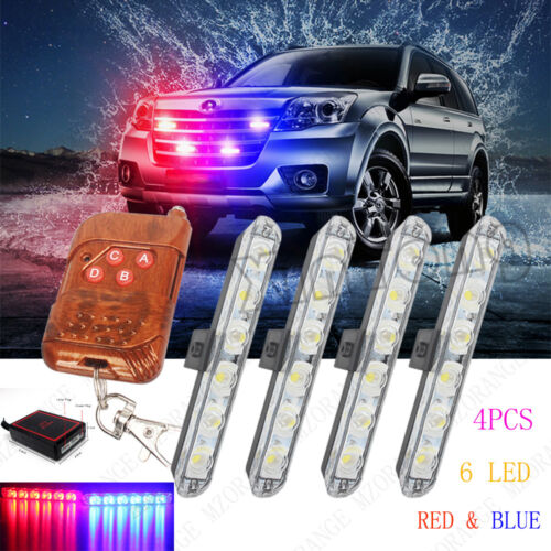 Red Blue 4PCS 6 LED 12V Car Truck Warning Flashing Wireless Remote Light Bars US