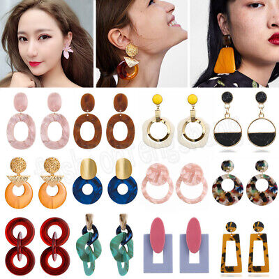 Fashion Women Earrings Acrylic Geometric Pendant Dangle Drop Statement Jewelry