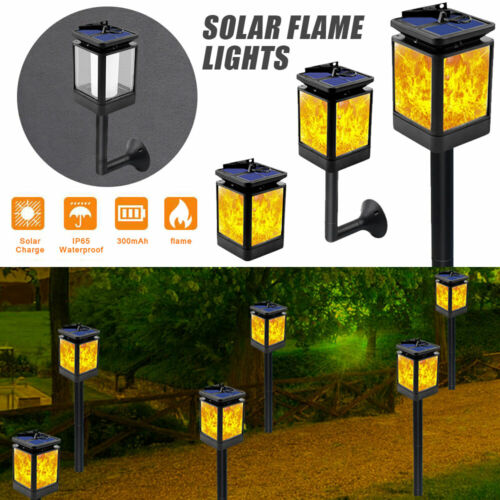 4pcs Solar 12LED Waterproof Flame Lamp Flickering Torch Garden Lights Path 3IN1
