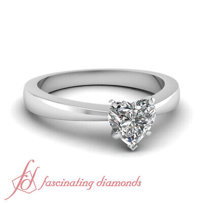 Tapered Solitaire 14K Gold Engagement Ring 1.40 Ct Heart Shaped SI1 Diamond GIA