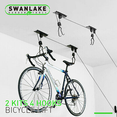 2-Pack Bike Lift Hoist Bicycle Lift Ceiling Mounted Garage Hanger Pulley Rack Ceiling Bike Rack