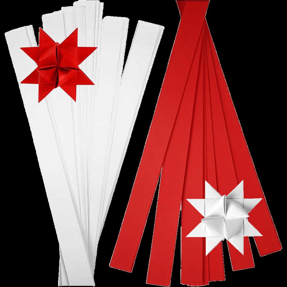Fröbelsterne 100 Papierstreifen 10mm (10,87€/m²) weiß oder rot = 25 Sterne Ø 4cm