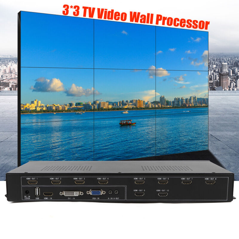 TV Video Wall Controller Remote 9 Channel HDMI DVI VGA USB Video Processor USA