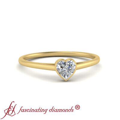 3/4 Carat Heart Shaped Diamond Single Solitaire Wedding Ring In 18K Yellow Gold