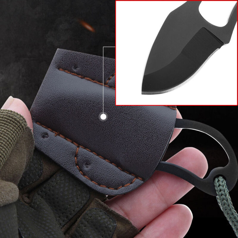 Mini Pocket Finger Paw Survival Self-Defence Fishing Neck Knife With Sheath Hot