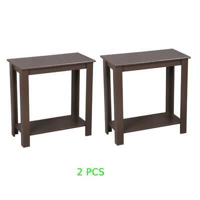 Popular Set of 2 Elegant Solid Wood Nightstand End Table Bedside Cabinet Brown