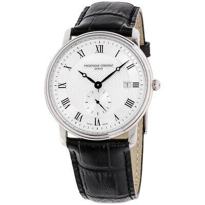 Frederique Constant FC-245M5S6 Men's Slimline 39mm White Dial Black Leather