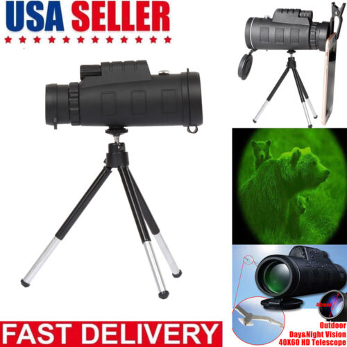 40X60 Zoom Optical HD Lens Monocular Telescope + Tripod + Cl