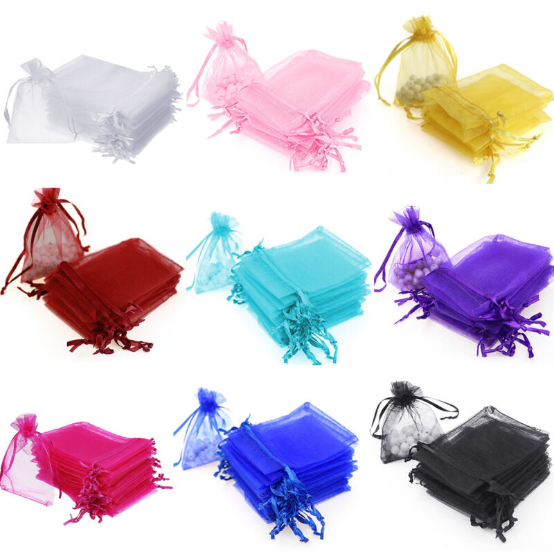 100/200 pcs Organza Wedding Party Favor Decoration Gift Candy Sheer Bags Pouches