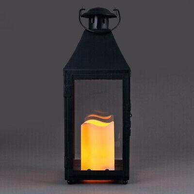 LED Laterne schwarz batteriebetrieben Deko mit Kerze Leuchte Leuchter