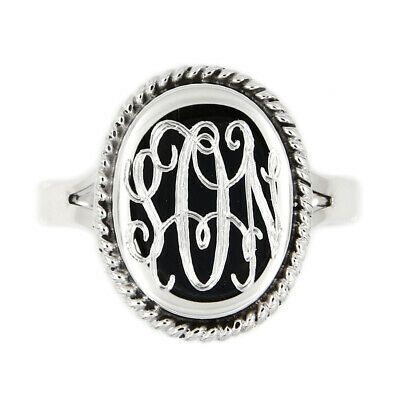 Silver Monogram Engravable Oval Shape with Rope Edge Signet Personalized Ring