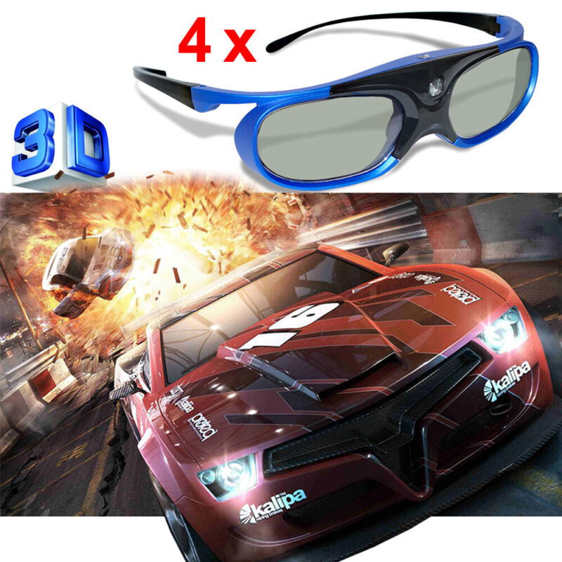 4X Active Shutter 3D Glasses Recharge Fit for 3D Projector Sony Optoma Dell US