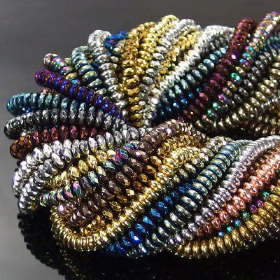 Multi Color Beads (Multi Color Faceted Smooth Rondelle Hematite Gemstone Spacer Beads Strand)