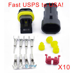 10-Kit-Set-Car-Waterproof-Electrical-Wire-Connector-2-Pin-Way-Terminals-Plug