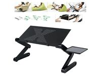 Adjustable Portable Folding Laptop Desk Computer Table Stand Tray With Fans
