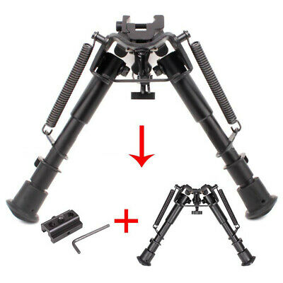 Adjustable Spring Swivel Bipod with Adapter Rail For Hunting Air Rifle Gun