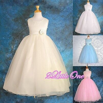 Wedding Flower Girl Empire Waist Formal Dresses Pageant Occasion Size 12m-8 #059 ()