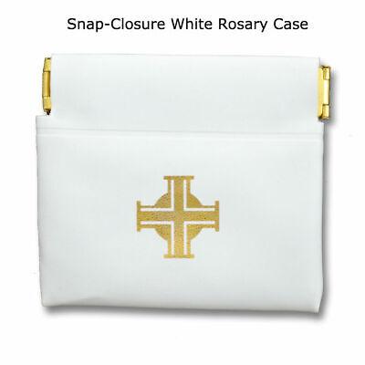 White Snap Rosary Case Holder - 3.5