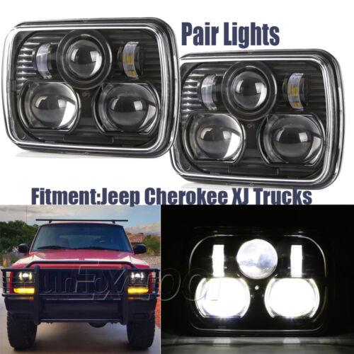 "2PC Black 5"" X 7"" LED Headlight Replacement for Jeep Cherokee XJ Trucks 5*7"""