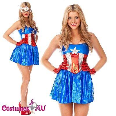 Ladies American Captain Woman Super Hero Fancy Dress Halloween Superhero Costume