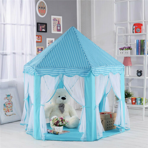 Portable Princess Castle Play House Blue Large Indoor/Outdoor Kids Play Tent - $52.88